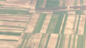 it is hard not to use the hackneyed mataphor of patchwork looking at the way these strips of intensively-cultivated land are arranged