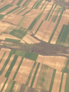 fields outside Belgrade seen from the air